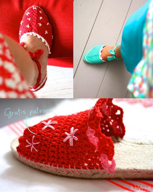 Gratis haakpatroon espadrilles, door Saskia Laan (foto: Wolplein) | Happy in Red