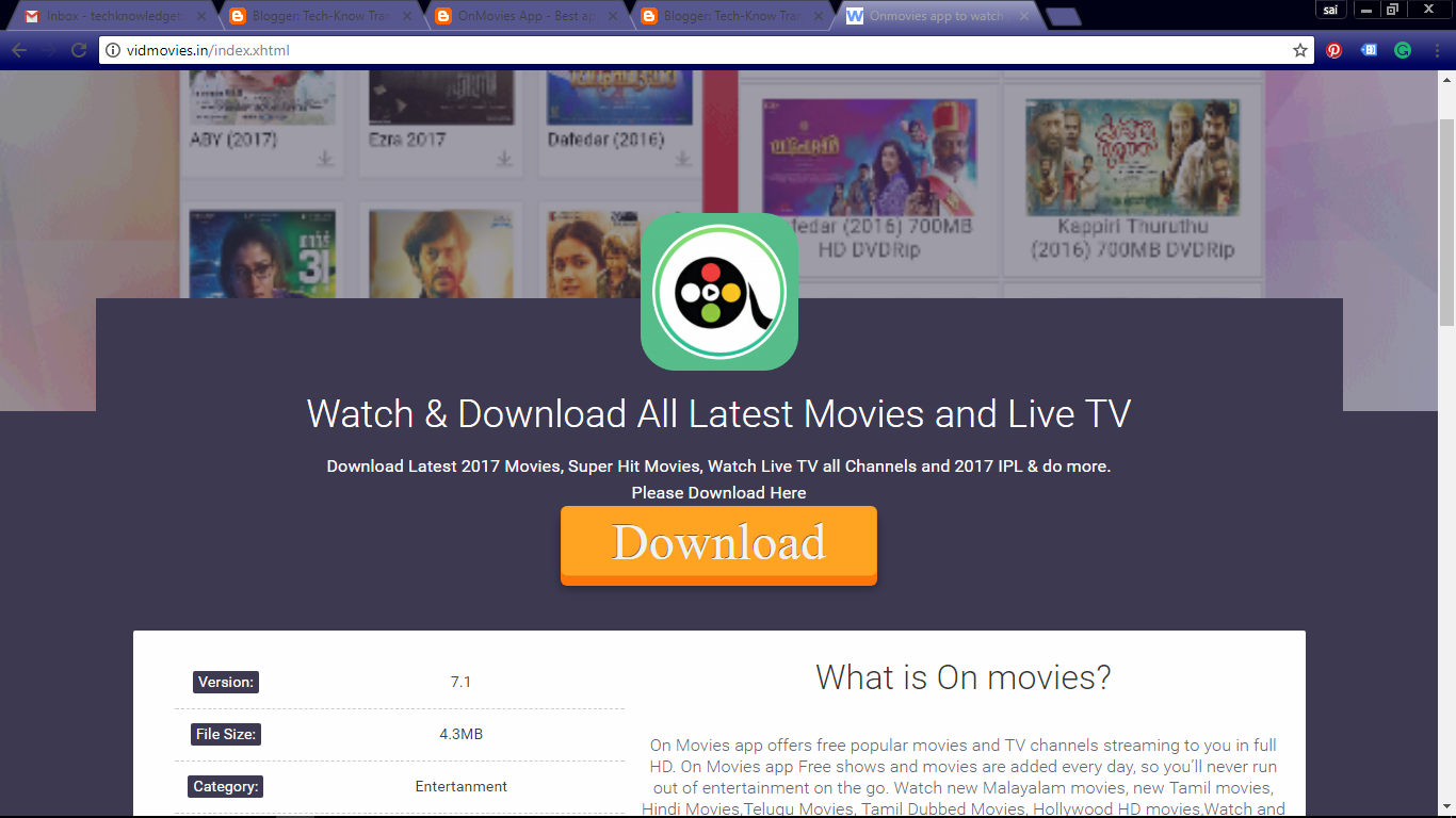 OnMovies App - Best app to download latest movies HD - Tech