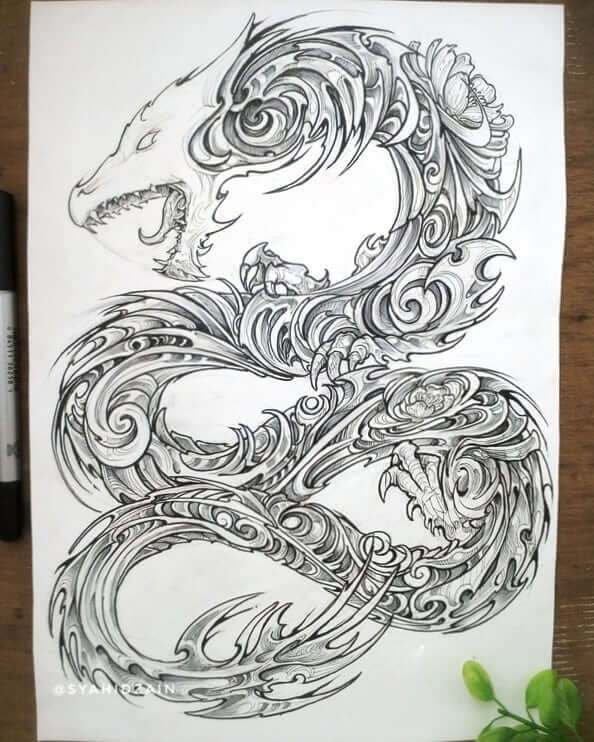 11-Dragon-Skull-Animal-Drawings-Syahid Zain-www-designstack-co