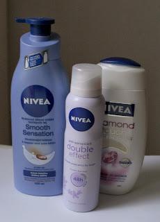 nivea, body lotion, deodorant, shower gel