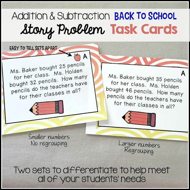 Elementary Antics: Back to School Story Problem Task Cards. Two sets of addition and subtraction task cards- great for centers for your kiddos. Easy to differentiate for your students needs.