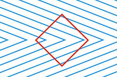 İçindeki mavi çapraz çizgiler nedeniyle eğri görünen dikdörtgen göz yanılması