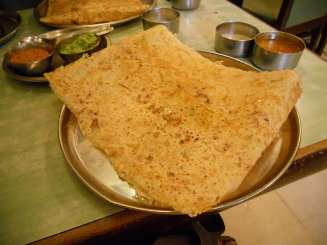 What to eat in Delhi India: dosa with savory sauces at Sagar Ratna in Defence Colony Market