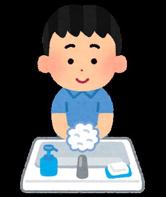 石鹸で手を洗う男の子のイラスト