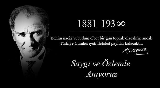 10 Kasım 2018 Atatürk'ün Ölümsüzleştiğinin 80 Nci Yıl Dönümü