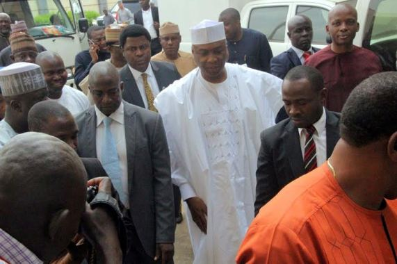 Nigeria Senate President Bukola Saraki storms corruption trial with 91 lawyers  and 12 Senators