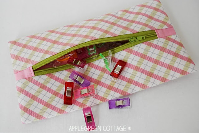 lined zipper pouch with center zipper