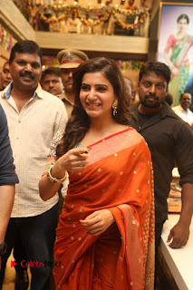 Actress Samantha Pictures in Saree at South India Shoping Mall Launch 0232