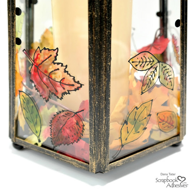 DIY Hand-Painted Glass Lantern with Black Glue Leaves Fall Decor