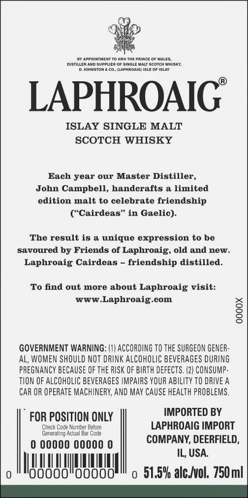 Laphroaig Cairdeas back label