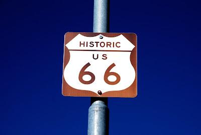 Historic US 66 sign on pole