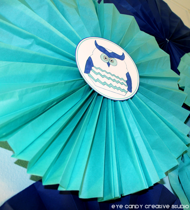 tissue paper accordian, owl, chevron, royal & teal, birthday party, craft