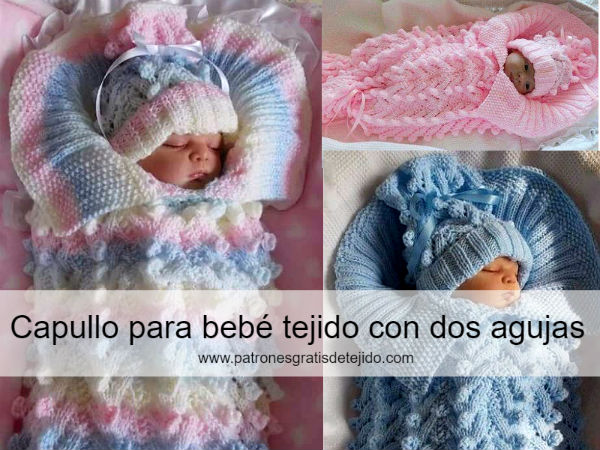 Capullo para bebé tejido con dos agujas / DIY | Crochet y Dos agujas ...