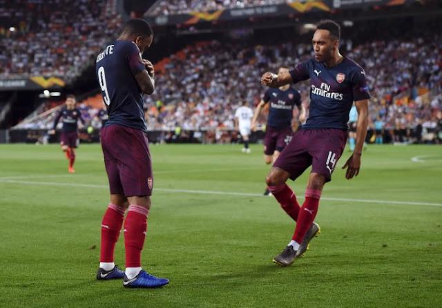 Lacazette, Aubameyang Arsenal Vs Valencia