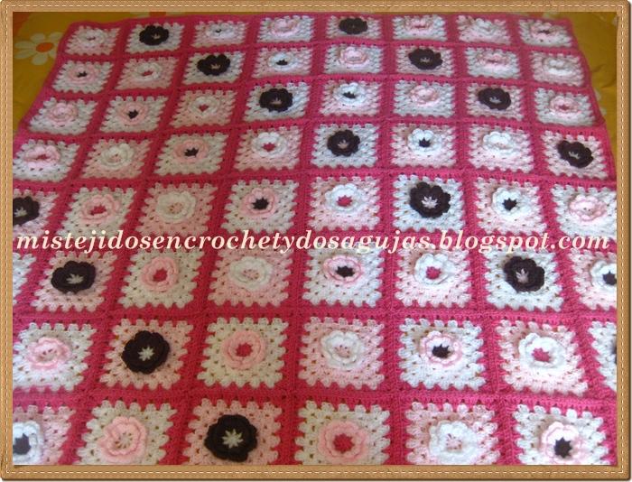 Mis tejidos en crochet y dos agujas (palitos): Manta Granny Square ...