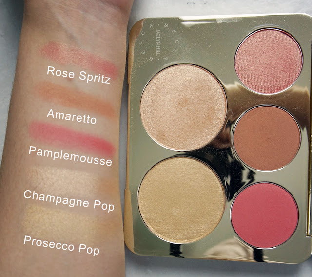 Swatches of the blushes and highlighters in the Becca Cosmetics x Jaclyn Hill champagne glow face palette