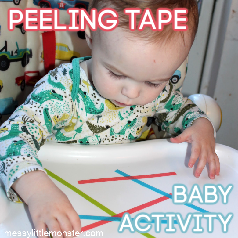 Peeling tape fine motor baby activity