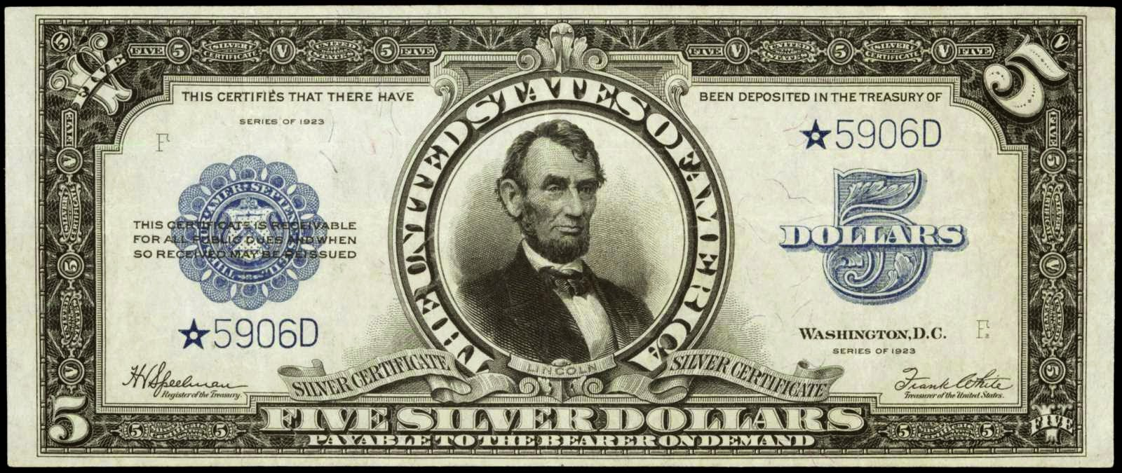 1923 Five Dollar Silver Certificate Porthole Star note