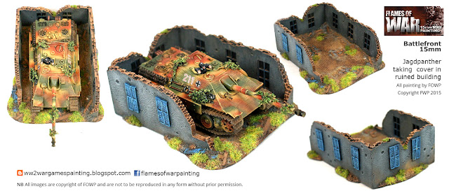15mm Jagdpanther taking cover in ruined building models by Battlefront. Painting by Flames of War painting