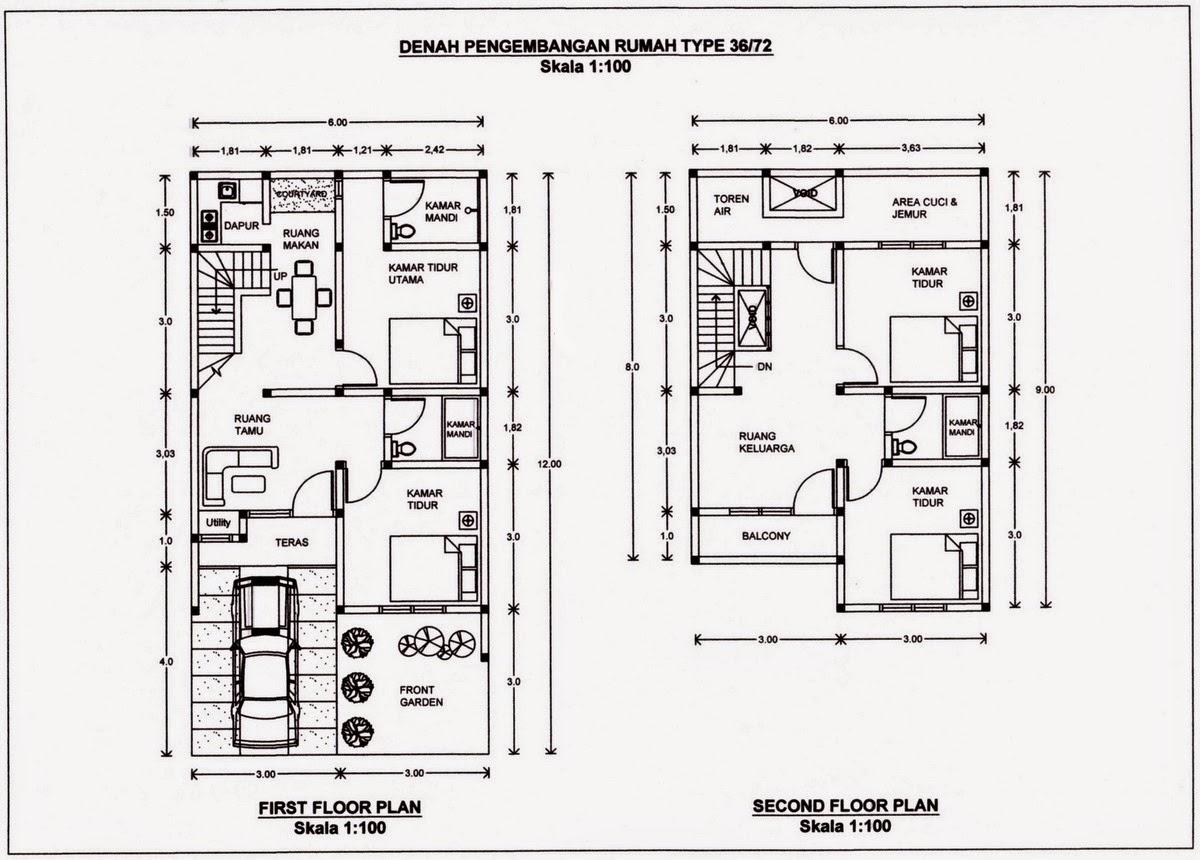 Rumah Minimalis Cat Abu Abu Terbaru Denah Rumah Ukuran 7x12