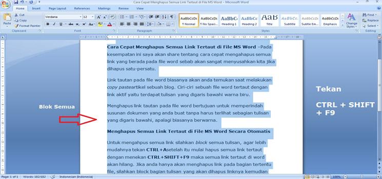 Cara Cepat Menghapus Semua Link Tertaut Pada File