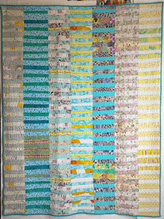 Each column consists of alternating pairs of fabrics: blue, yellow, grey or white