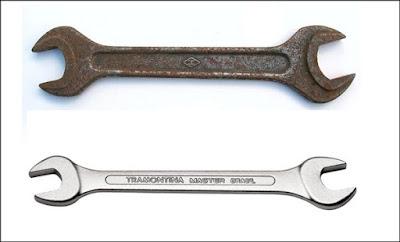 ferramenta com e sem ferrugem