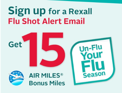 Rexall Free 15 Air Miles Reward Miles Flu Shot Email