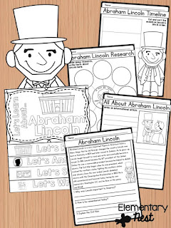 Abraham Lincoln Biography- February Activities and FREEBIES- activities for primary students- February reading, math, writing, social studies and more! Valentine's Day, Presidents Day, Black History Month, Dental Health Month