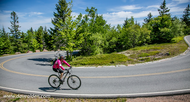 riding up Cadillac Mountain in Acadia National Park, Mount Desert Island, Maine