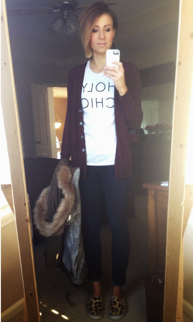 Graphic tee, plum cardigan, and leopard sneakers