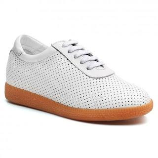 Women High Heel Shoes White Elevator Sneaker Platform Sneaker To Look Taller 7 CM /2.76 Inches