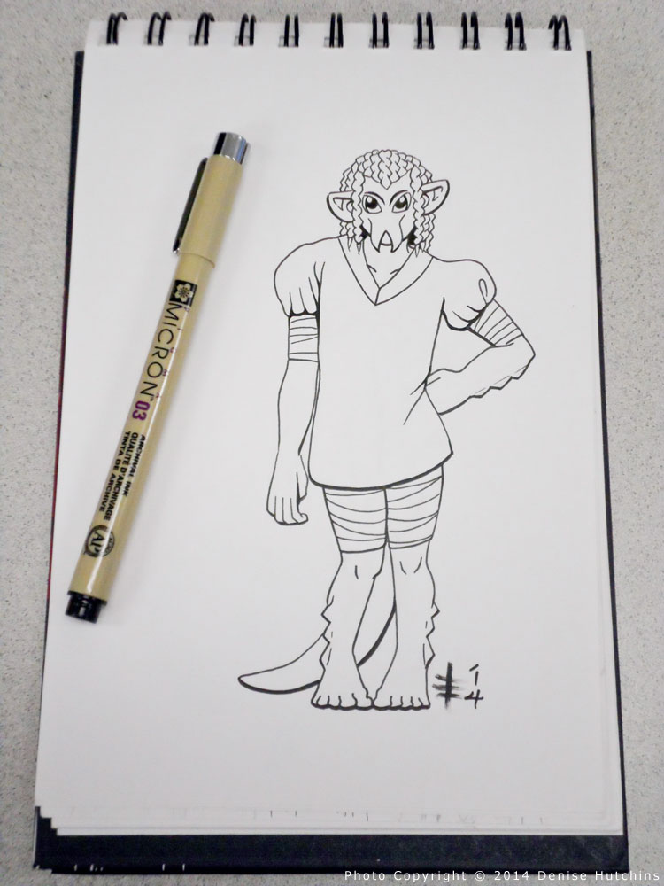 Inked Drawing of an Alien/Monster