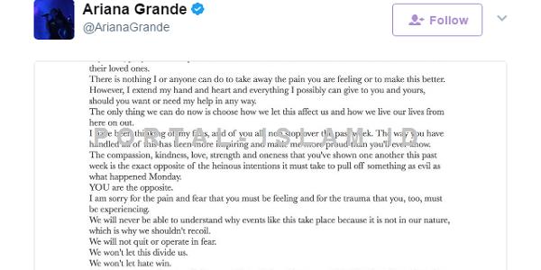 Hadapi TRAGEDI Bom, Semestinya Kita Tak Malu Belajar Dari Ariana Grande - INSIDE ONTA