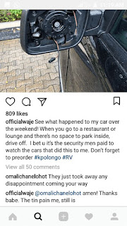 Singer Waje Advice Nigerians After Her Car Side Mirror Was Stolen