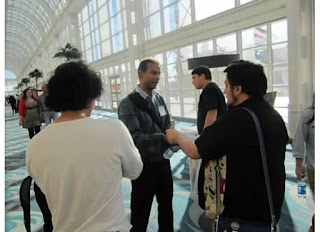 Talking with attendees after the digital comics panel