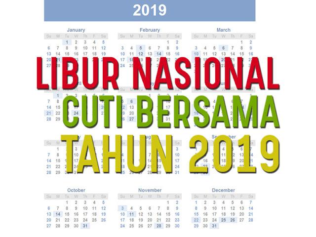 hari libur nasional tanggal merah dan cuti bersama tahun 2019