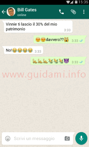 Falsa chat WhatsApp creata con Yazzy per Android