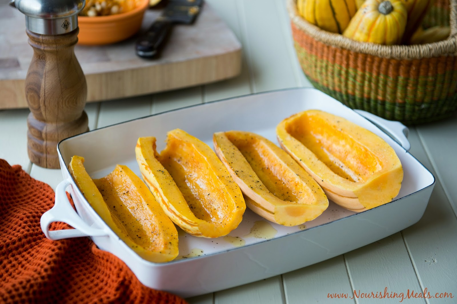 Learn how to cook acorn squash in two ways: Sweet and savory. Both are super easy and make for an fantastic side dish! One of the greatest things about fall is SQUASH. I love it all — spaghetti, acorn, butternut, delicata. Delicata squash is my favorite and I love that you can eat the skin of it.