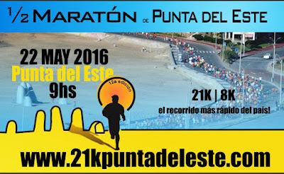Media maratón de Punta del Este (Maldonado, 21k y 8k; 22/may/2016)