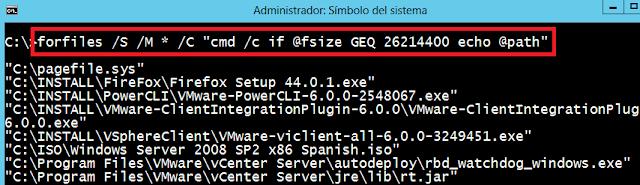 Windows: Buscar archivos por tamaño