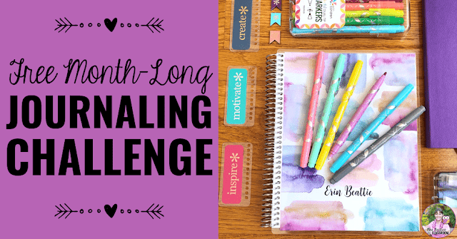 "Journal Supplies with text, ""Free Month-Long Journaling Challenge."""
