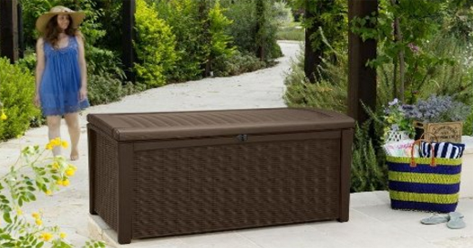 Keter Borneo 110 Gal. Wicker Outdoor Patio or Pool Deck Box, Keter Deck Box, Keter Deck Box Seat, Keter Deck Storage Box, Keter Outdoor Storage Bench, Keter Plastic Deck Storage Container Box, Keter Resin Deck Box, Lockable Keter Deck Box, keter,