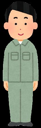 緑の作業着を着た人のイラスト(男性)