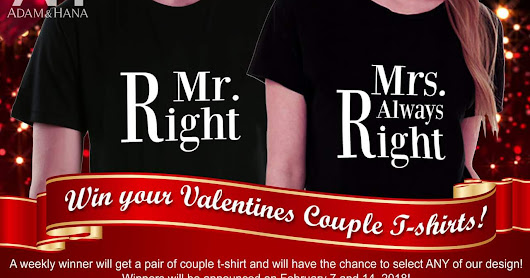 WIN YOUR VALENTINES COUPLE T-SHIRT!!!