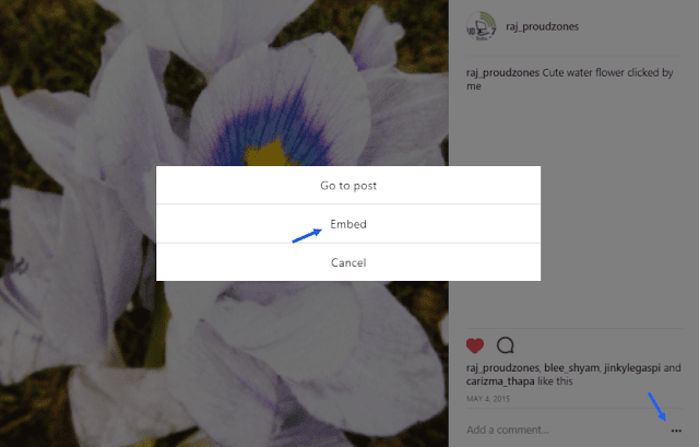 embed instagram image to blogger blog