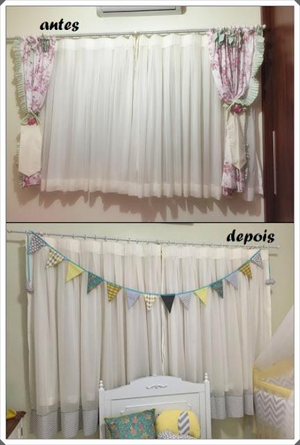 cortina com bandeirinha de tecido