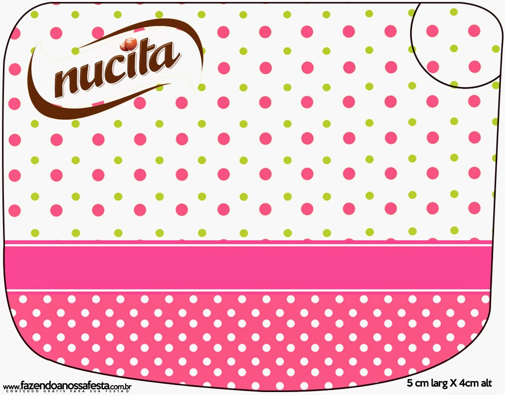Pink, Green and White Polka Dots Free Printable Candy Bar Nucita Labels.
