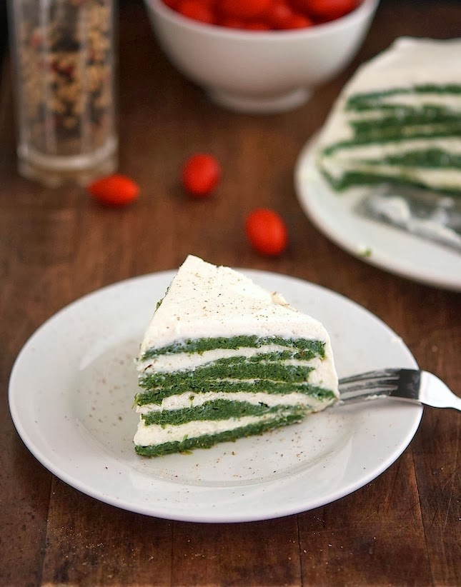 Spinach Omelette and Whipped Ricotta Cake