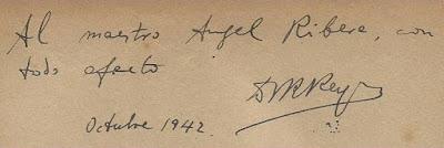 Dedicatoria de Dr. Rey a Àngel Ribera en su libro Cien Nuevas Partidas de Ajedrez, octubre de 1942